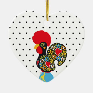Famous Rooster of Barcelos Nr 06 - Polka Dots Ceramic Heart Decoration