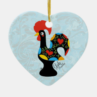 Famous Rooster of Barcelos Nr 09 Ceramic Heart Decoration