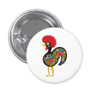 Famous Rooster of Barcelos Portugal Nr. 07 3 Cm Round Badge
