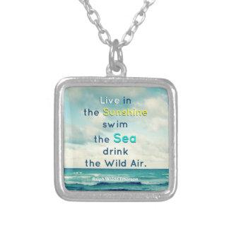 FAMOUS SUNSHINE SEA QUOTE ART NECKLACE