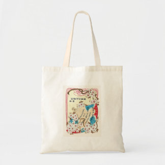 Fan and Cherry flowers Vintage Japanese Silk Label Tote Bags