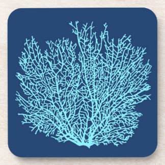 Fan Coral Print, Aqua on Deep Cobalt Blue Coaster