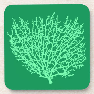 Fan Coral Print, Pale Green on Deep Jade  Green Coaster
