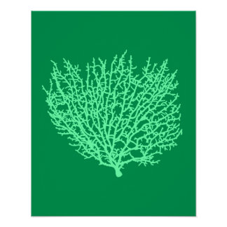 Fan Coral Print, Pale Green on Deep Jade  Green Poster