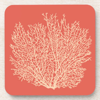 Fan Coral Print, Peach on Deep Coral  Orange Coaster