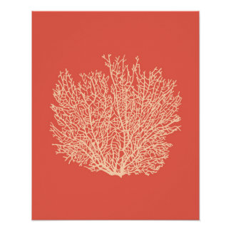 Fan Coral Print, Peach on Deep Coral  Orange Poster