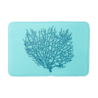Fan Coral Print, Turquoise on an aqua background Bath Mat