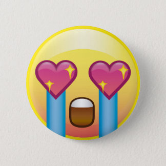 Fan Girl Excited Sparkle Heart Eyes Crying Emoji 6 Cm Round Badge