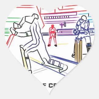 Fan of games of Cricket Heart Sticker