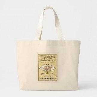 Fan Vintage Japanese Silk Label Canvas Bags