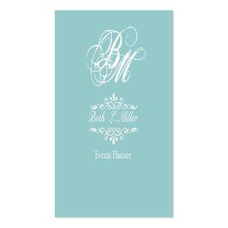 Fancier Curls Monogram Cool Event Planner Pack Of Standard Business Cards