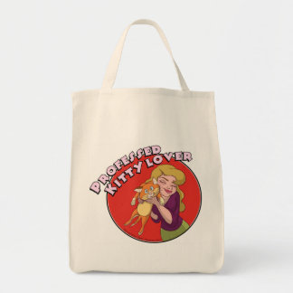 Fanciful Arts Kitty Lover organic grocery tote Grocery Tote Bag