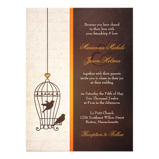 Fanciful Bird Cage - Autumn Orange & Brown Wedding Invitations