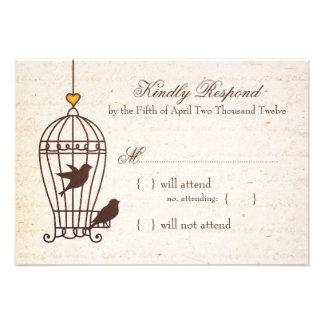 Fanciful Bird Cage - Autumn Orange Wedding RSVP Invite