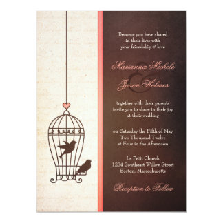 Fanciful Bird Cage - Chocolate & Pink Wedding 17 Cm X 22 Cm Invitation Card