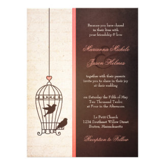 Fanciful Bird Cage - Chocolate Pink Wedding Announcement