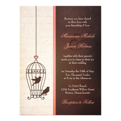 Fanciful Bird Cage - Chocolate & Pink Wedding Announcement