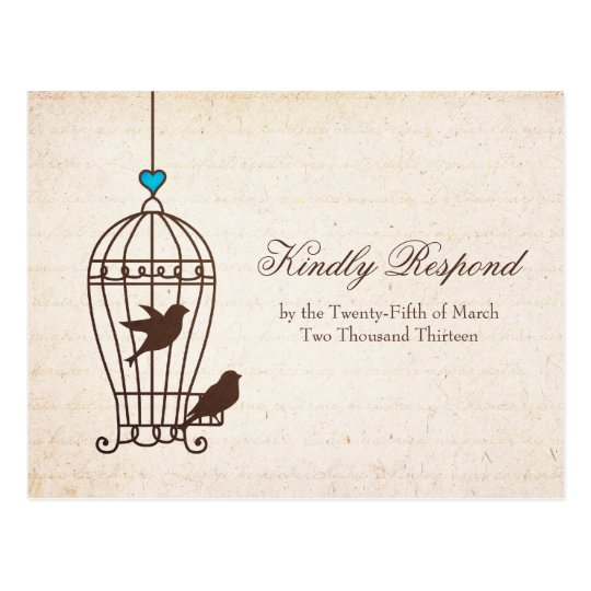 Fanciful Bird Cage - Chocolate & Teal Wedding RSVP Postcard