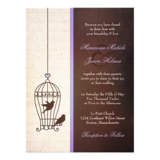 Fanciful Bird Cage - Lavender & Brown Wedding Invites