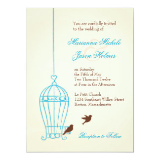 Fanciful Bird Cage Teal & Chocolate Wedding Card