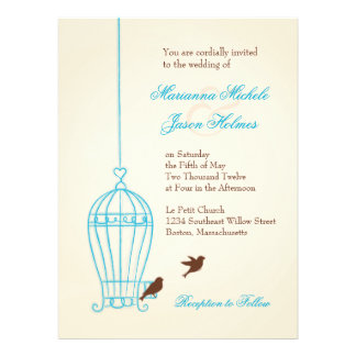 Fanciful Bird Cage Teal Chocolate Wedding Invitation