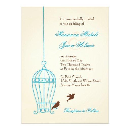 Fanciful Bird Cage Teal & Chocolate Wedding Invitation