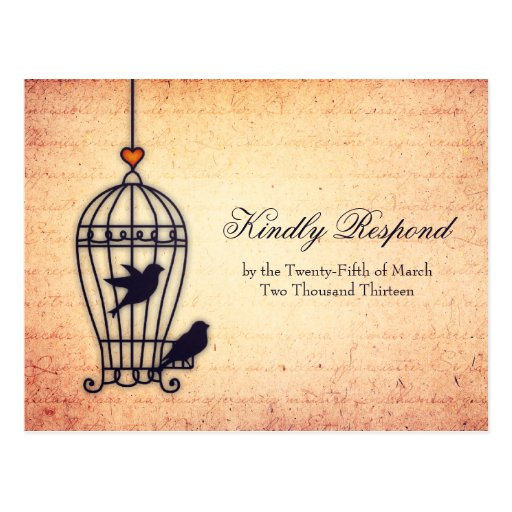 Fanciful Bird Cage with Gold Heart Wedding RSVP Post Card