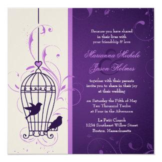 Fanciful Bird Cage with Swirls Aubergine Wedding Card