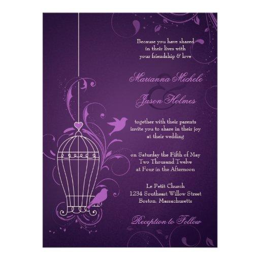 Fanciful Bird Cage with Swirls Aubergine Wedding