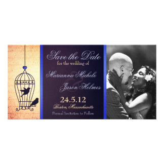 Fanciful Birdcage Photo Save the Date Blue Ribbon Picture Card