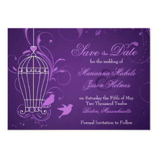 Fanciful Birdcage & Swirls Aubergine Save the Date Card