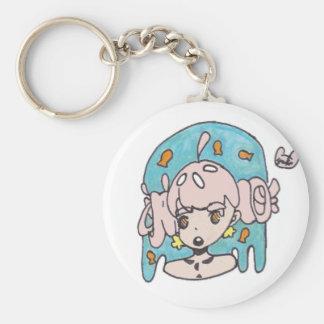 Fanciful goldfish girl key ring