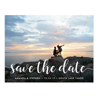 Fanciful Script | Photo Save the Date Postcard