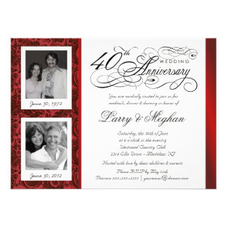 Fancy 40th Anniversary Invitations - Then & Now