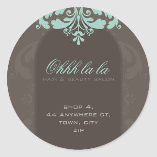 FANCY ADDRESS LABEL :: couture flourish 2A Round Sticker