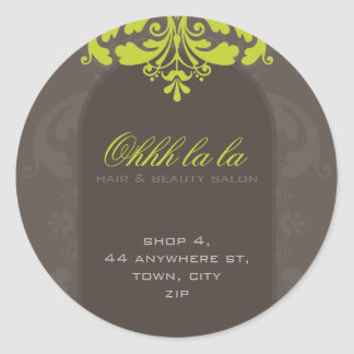 FANCY ADDRESS LABEL :: couture flourish 4A Round Sticker