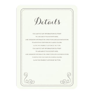 Fancy Affair Wedding Insert Card - Ivory & Black