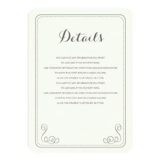 Fancy Affair Wedding Insert Card - Ivory & Black 11 Cm X 16 Cm Invitation Card