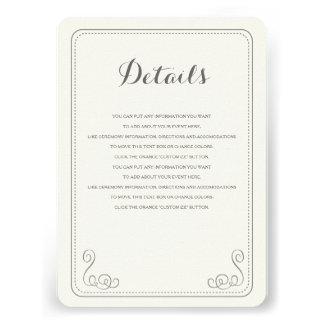 Fancy Affair Wedding Insert Card - Ivory & Black