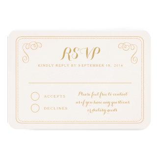 Fancy Affair Wedding RSVP Card - Blush & Gold 9 Cm X 13 Cm Invitation Card