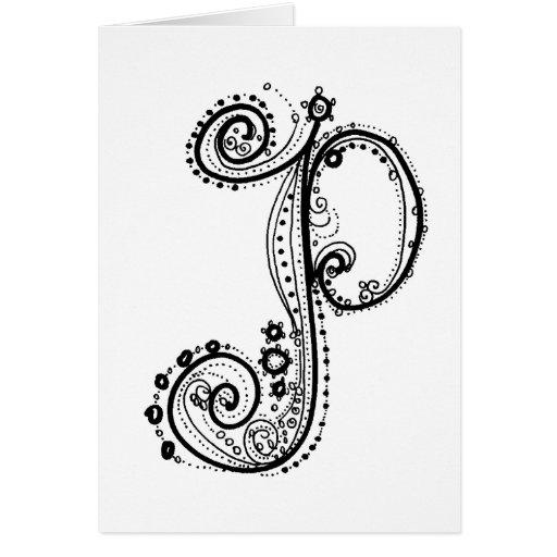 Fancy AlphabetTM Letter P Greeting Card