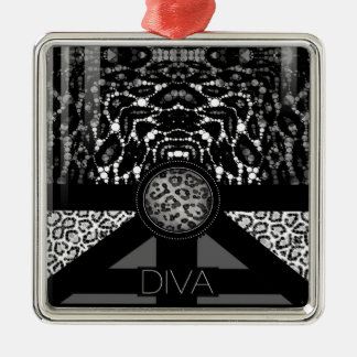 Fancy Animal Print Monogram Silver-Colored Square Decoration