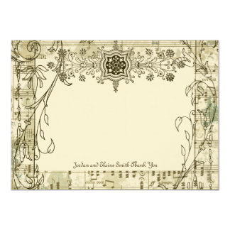 Fancy Antique Music Personalized Thank You Notes Card