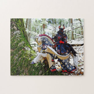 Fancy armoured knight on Pegasus Jigsaw Puzzle