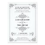 "Fancy Art Deco Black & White Wedding Invitations 5"" X 7"" Invitation Card"