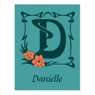 Fancy art nouveau letter D Postcard