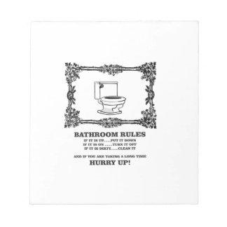 fancy bathroom rules notepads