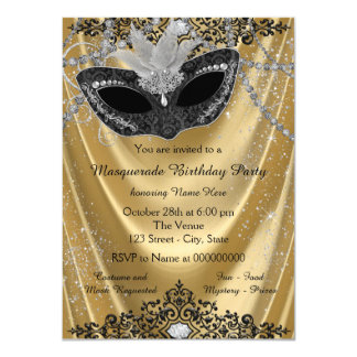 Fancy Black and Gold Masquerade Party 11 Cm X 16 Cm Invitation Card