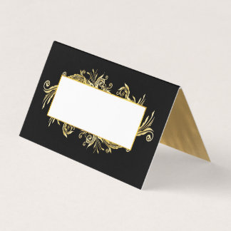 Fancy Black and Gold Wedding Folded Place Card