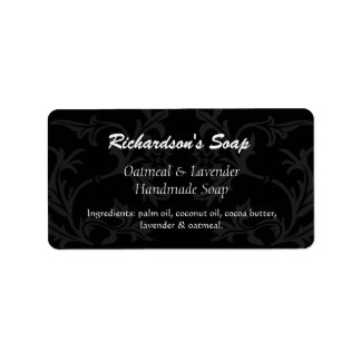 Fancy Black And Gray Damask Soap Labels